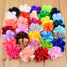 wholesale 100pcs/lot  2″ Satin Flower WITHOUT Clip DIY Fabric Flower For Girls Headband hair Accessories