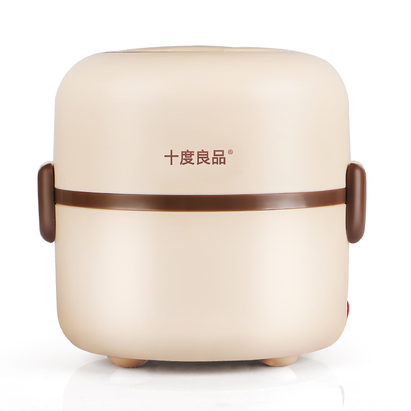 Light Brown Electric Lunch Box Double Layer Stainless Steel Heating Plug-in Insulation Lunch Container Hot Rice Cooker 220v 3kw large rice cooker parts steam cooking heating tube double u stainless steel heater 250mm