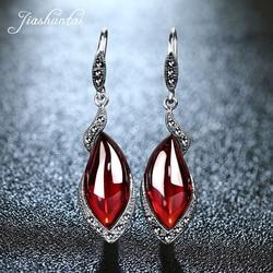 JIASHUNTAI Retro Brincos de Prata para As Mulheres Do Vintage 925 Sterling Silver Red Longos Brincos Jóias Femininas