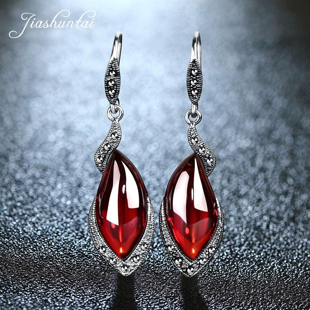 JIASHUNTAI Retro Silver Earrings for Women Vintage 925 Sterling Silver Red Long Earrings Jewelry Female