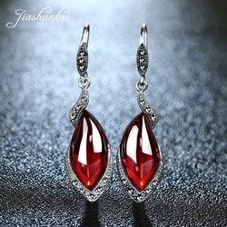 JIASHUNTAI pendientes de plata Retro para mujeres Vintage 925 Plata de Ley rojo pendientes largos joyería femenina