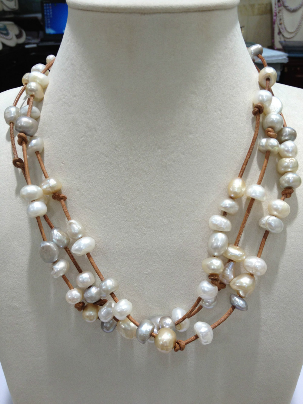 japanese biwa products graduated pearl vintage early necklace fetheray freshwater rare