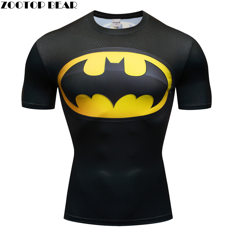 Superman 3D t shirt Men Compression Short Sleeve T-shirt Ironman Quick Dry Tops Bodybuilding Fitness Tshirts Crossfit Tee S-XXXL