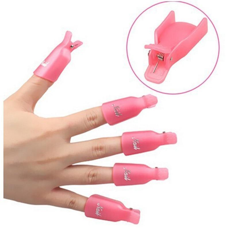 10pc set acrylic nail art soak off clip cap set plastic uv. Black Bedroom Furniture Sets. Home Design Ideas