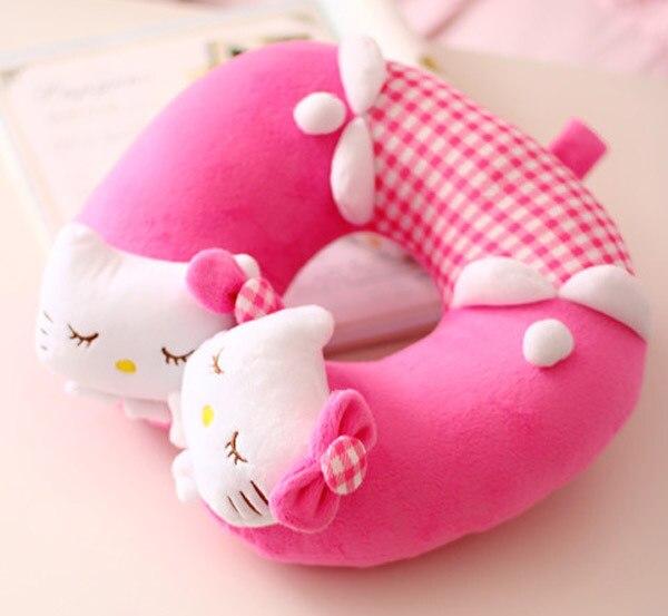 Cute 1pc 26cm cartoon sleepy hello kitty bowknot girl plush cotton car office rest pacify U neck pillow stuffed toy girl gift