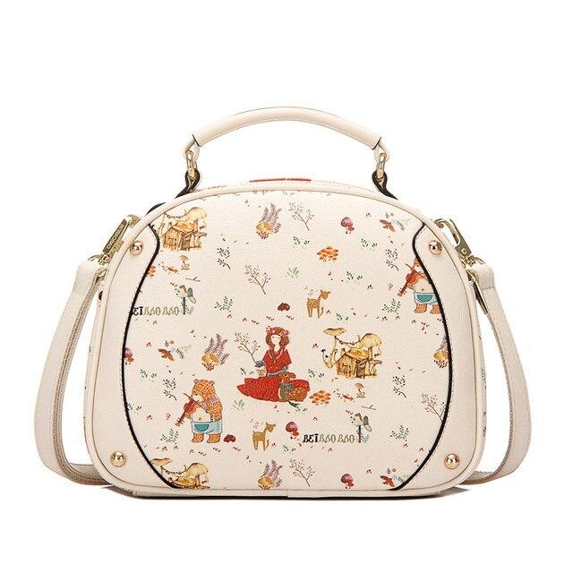 women bags 2017 New Printing spring and summer small fresh shoulder bag cute women messenger bags retro handbags