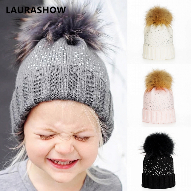 c26eeb36763 LAURASHOW Winter Baby Real Mink Fur Ball Beanie Knit Hat Kids Warm Raccoon  Fur Pom Poms Skullies Beanies Wool Cap