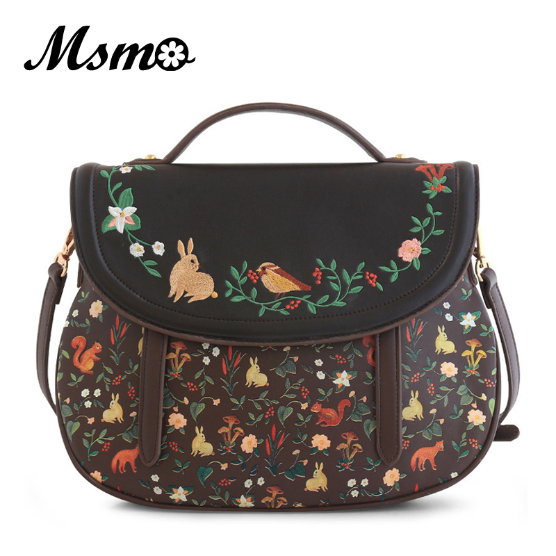 MSMO 2017 ENSSO Fashion Women Saddle Bag Vintage Embroidery PU Leather Shoulder Bag 3 Ways Used
