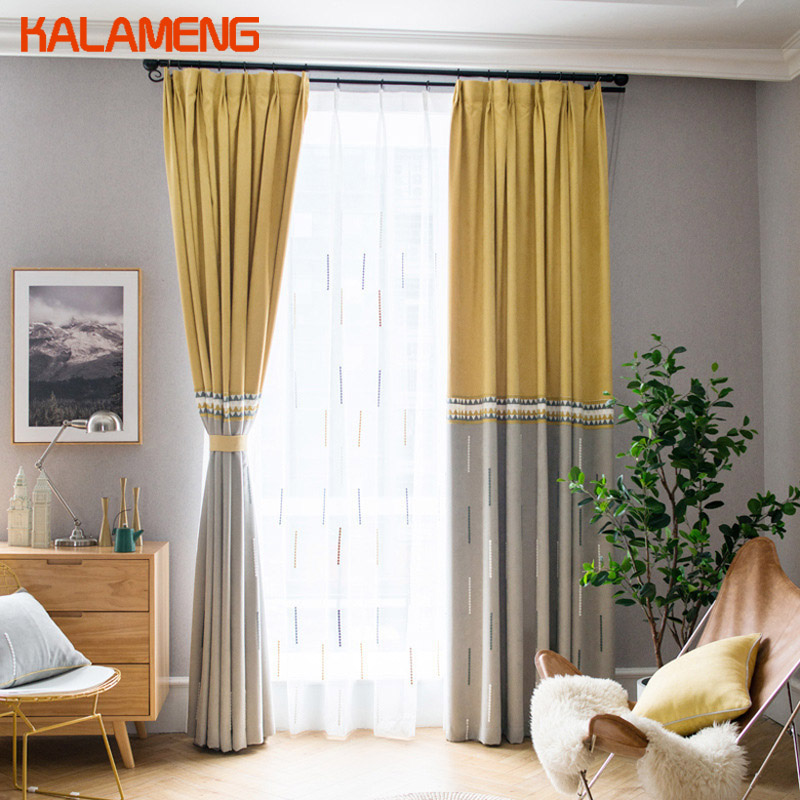 Contemporary Curtain Modern Geometric Yellow Curtains Panel Bedroom Decorations For Living Room Country Decor Drapes  AXY8159(China)