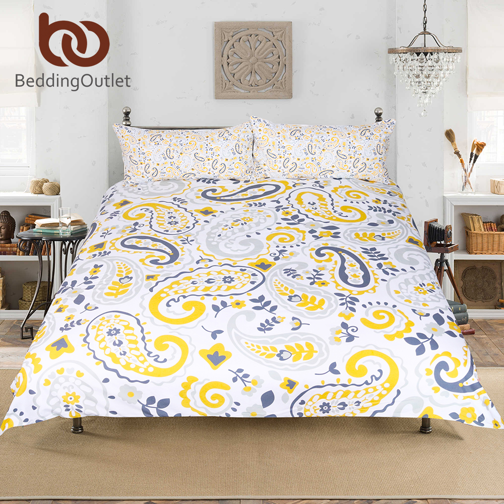 BeddingOutlet Paisley Bedding Set Yellow Duvet Cover With Pillowcase for Adults Boho Floral Leaf Bed Set 3-Piece Home TextilesBeddingOutlet Paisley Bedding Set Yellow Duvet Cover With Pillowcase for Adults Boho Floral Leaf Bed Set 3-Piece Home Textiles