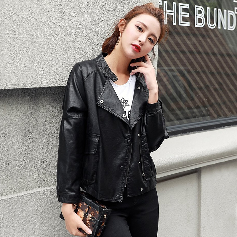 Spring Autumn Women Short PU Faux   Leather   Jackets Female Loose Jacket With Big Pockets Long Sleeve Stand Collar Coats OL Lady