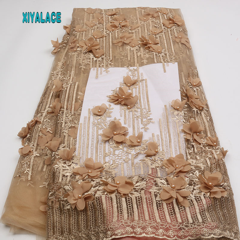Gold Lace Fabric High Quality Nigerian Lace Fabric 2018 High Quality Lace 3d Embroidery Tulle Lace