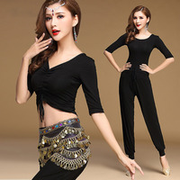 2018 New Style Women 3 Piece Belly Dance Costume Top Pant Belt Sexy Belly Dancer Practice