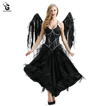 Dark Devil Evil Angel Costume Sexy Dress Halloween Costumes For Women Fancy Party Dress Fallen Angel Cosplay Dresses Girl halloween black devil cosplay costume forwomen vampire white angel dress with wings adult sexy party witch costumes girl