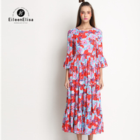 Vintage Ruffle Butterfly Sleeve Dress Summer Women Printed Dress Brand Famous Woman Dresses