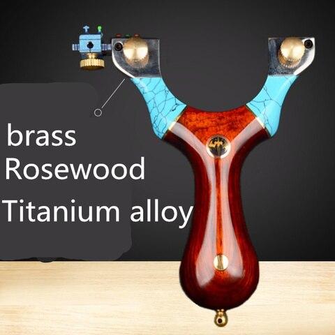 Liga de Cobre Clipe de Madeira Esporte ao ar Rosewood Titanium Puro Remendo Estilingue Rápida Imprensa Maciça Livre Caça Poderosa