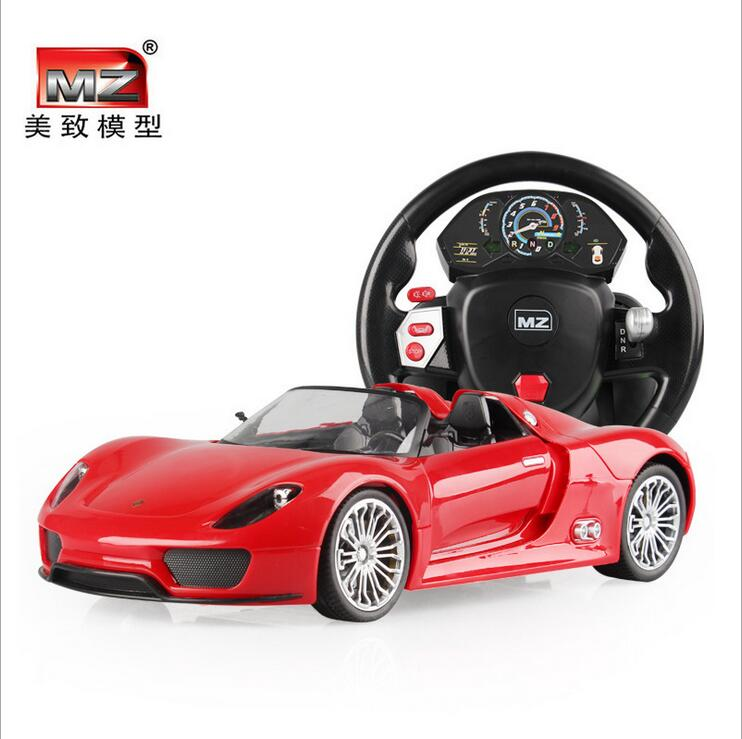 Remote control alloy car steering wheel a key gravity sensor control Porsc control car children a 14, 918 cars travel 27mhz 2 ch 1 14 scale a key switch doors steering wheel remote control car w lamp red black