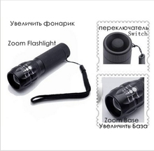 High Power 2000Lumens Mini Black Torch Zoomable LED Flashlights Torch light For camp Flashlight outdoor