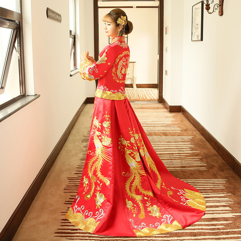 Red Embroidery Dragon Phoenix Chinese Style Wedding Dress