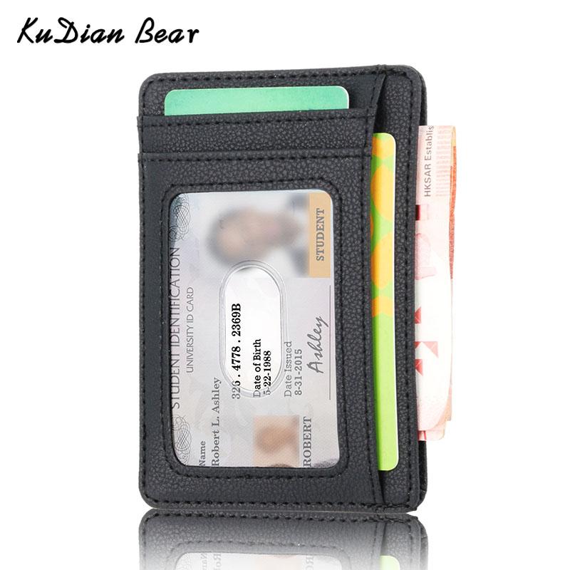 KUDIAN BEAR Rfid Minimalist Men Wallet Small Leather Credit Card Holder Clip Black Male Mini Slim Case Coin Purse BID251 PM49