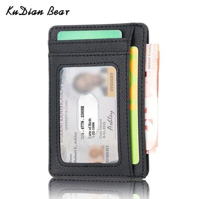 KUDIAN oso Rfid Vintage hombres cartera titular de la tarjeta de crédito de negocios de la marca hombre Mini carteras monedero billetera hombre BID251 PM49