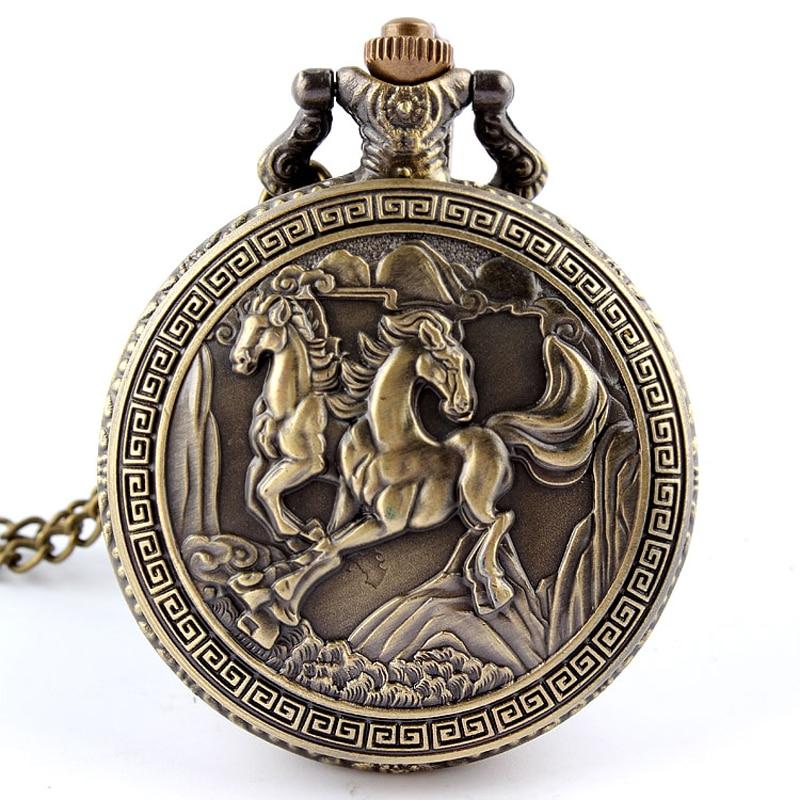 Antique Retro Bronze Horse Quartz Pocket font b Watch b font With Necklace Pendant Fob Chain