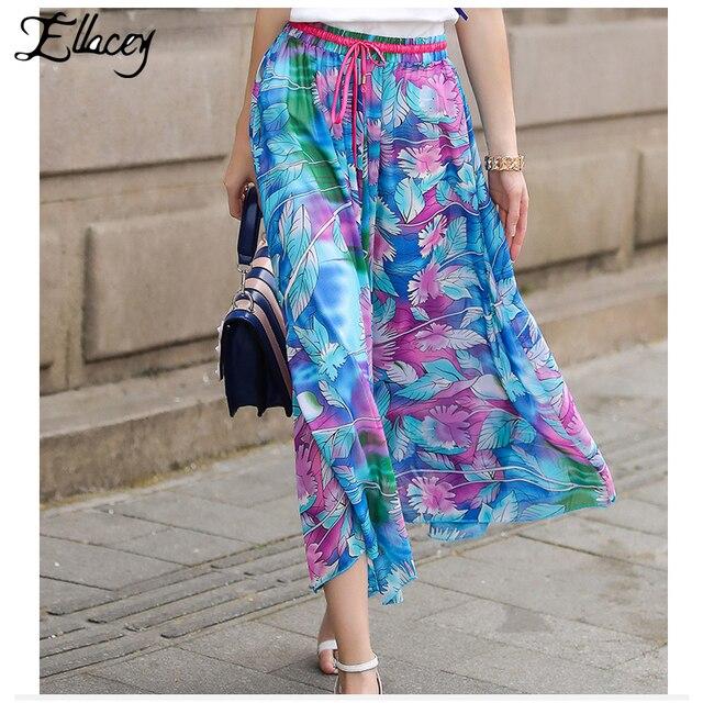 7c42c70058f New 2018 Summer Bohemian Printing Beach Skirts For Women Elastic Waist  Floral Printed Skirt A-