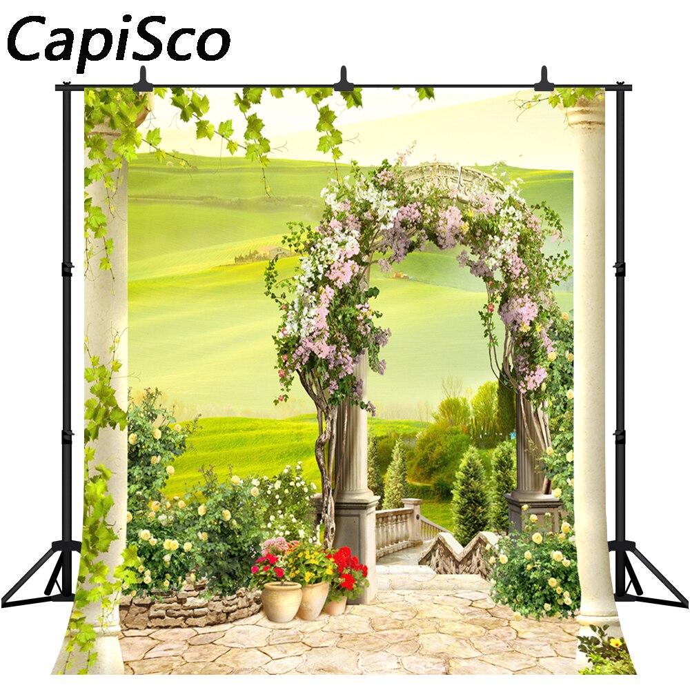 Capisco Spring Flowers dream Garden arch Scenic Photography Backgrounds Vinyl wedding Photographic Backdrops For Photo Studio