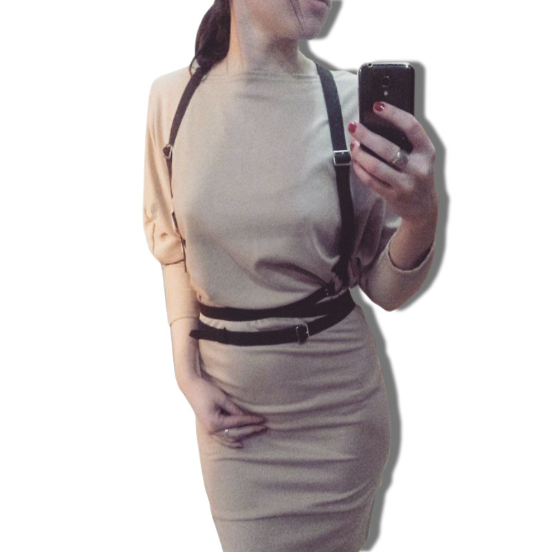 HARNESS Women Leather Sexy Belts Adjustable Punk Strap Buckies Detachable Around Collar From Shoulder To Waist For Free Shipping