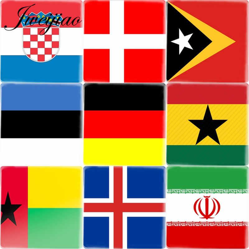 Jweijiao Nationale Vlag Vierkante Vorm 12 Mm Diy Glas Cabochon Portugal, Noorwegen, Zwitserland, argentinië Vlaggen Cameo Charms Instellingen