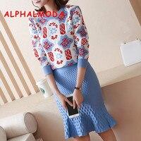 ALPHALMODA 2018 New Knitted Pattern Sweater + 3D Dot Mermaid Skirts Women Fashion 2pcs Suits High Waist Slim Skirt Sets