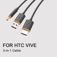 Tüketici Elektroniği'ten VR/AR Gözlük Aksesuarları'de 3 IN 1 HDMI USB kablosu HTC VIVE VR Kulaklık Sanal Gerçeklik Kask