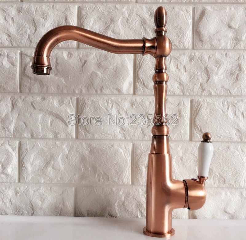 Antique Red Copper Kitchen Sink Faucet Washbasin Faucets Ceramic Lever Cold & Hot Water Mixer Bathroom Taps Deck Mounted lnf419 bathroom golden dual handle taps washbasin sink faucets hot and cold water mixer faucet