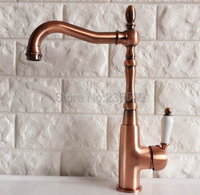 Antique Red Copper Kitchen Sink Faucet Washbasin Faucets Ceramic