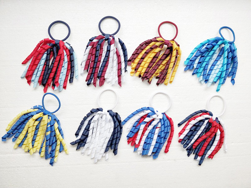 50pcs hair accessories Girl O A korker Ponytail curl tassel korker ribbons streamers bows with elastic