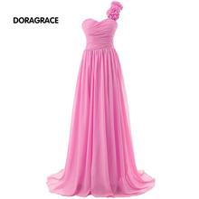 Best Selling One Shoulder Floor-Length Wedding Party Dresses Chiffon Bridesmaid Long DGB003