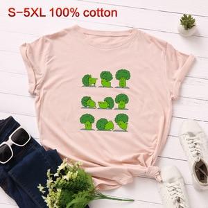 Image 4 - SINGRAIN Camiseta de algodón con brócoli para mujer, Tops básicos de talla grande para mujer, camiseta Multicolor con estampado vegano Harajuku