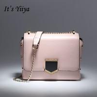 It S YiiYa 7 Colors New Genuine Leather Women Simple HandBag Luxury Candy Color Fashion Messenger
