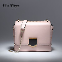 It S YiiYa 7 Colors New Genuine Leather Women Simple HandBag Luxury Candy Color Fashion Messenger