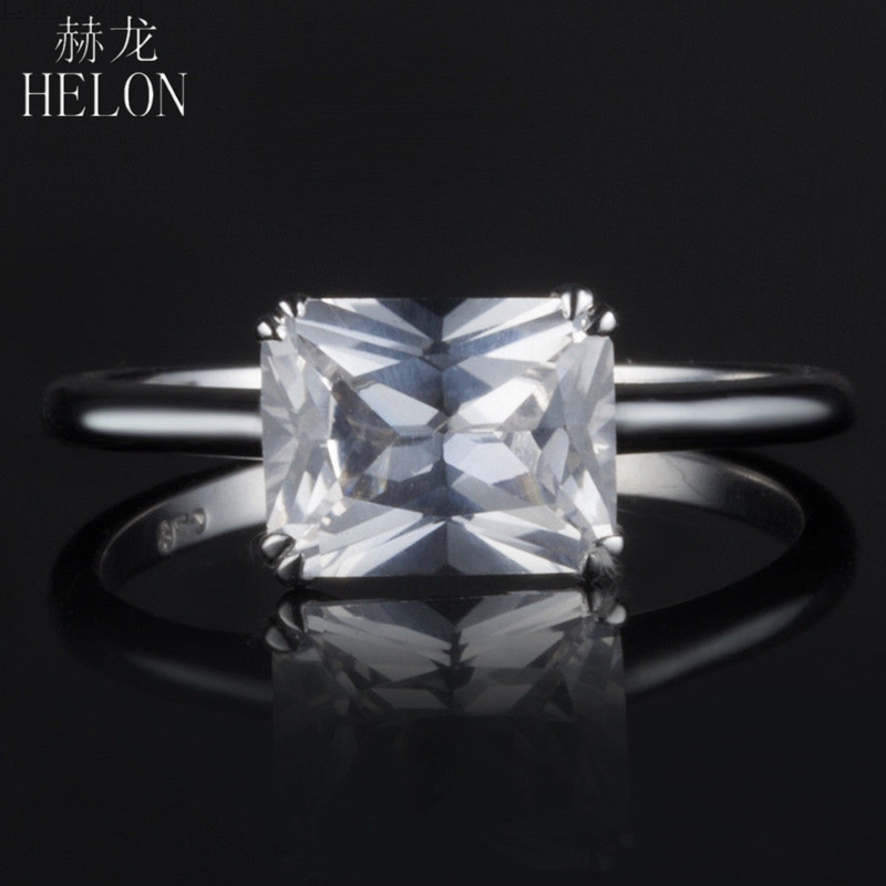 HELON Solid 14k White Gold 9x7mm Emerald AAA Graded Cubic Zirconia (CZ) Ring Engagement Wedding Ring Women Fine Jewelry Classic 2mm width 14kk solid white gold hoop earrings for women earrings aaa graded cubic zirconia cz party engagement wedding jewelry