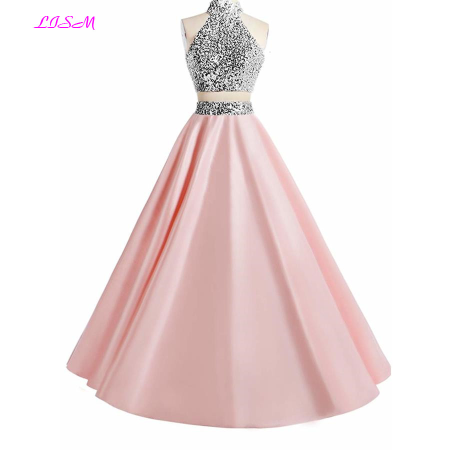 Pink Two Pieces Beaded   Prom     Dress   High Neck Crystals Sequin Formal Gown Elegant Open Back Floor Length Satin Party Pageant   Dress
