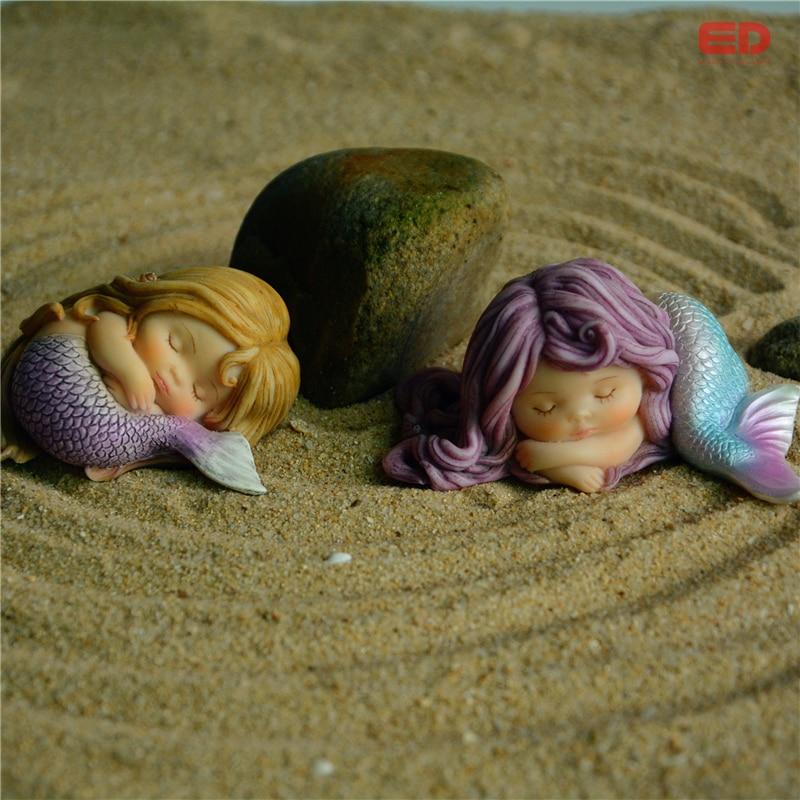 Günlük Koleksiyon Reçine Mermaid Minyatür Peri Bahçe Ev Aksesuar - Ev Dekoru - Fotoğraf 2