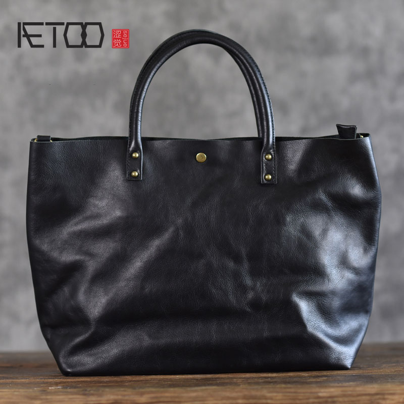 AETOO The first layer of soft leather cross section handbag pure leather tote bag simple leather mother bag wild large capacity sophisticated medium capless fluffy curly brown highlight heat resistant synthetic wig for women