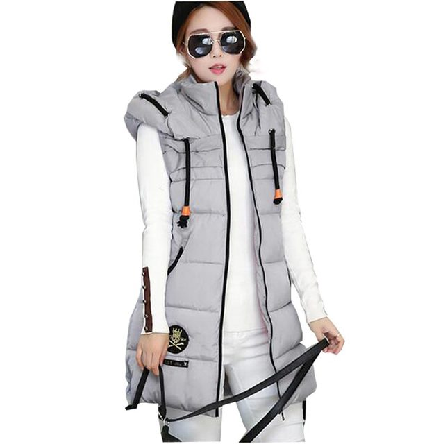 2016 brand new casual women vests winter thicken plus size slim wadded waistcoat long hooded cotton-padded vest coats kl0633