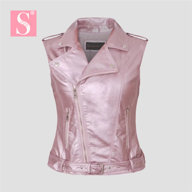 36a5b8c04769 STVY Women Vest 2018 New Spring Sleeveless Leather Jacket Motorcycle Vest  Tops Outerwear Clothing Silver Pink