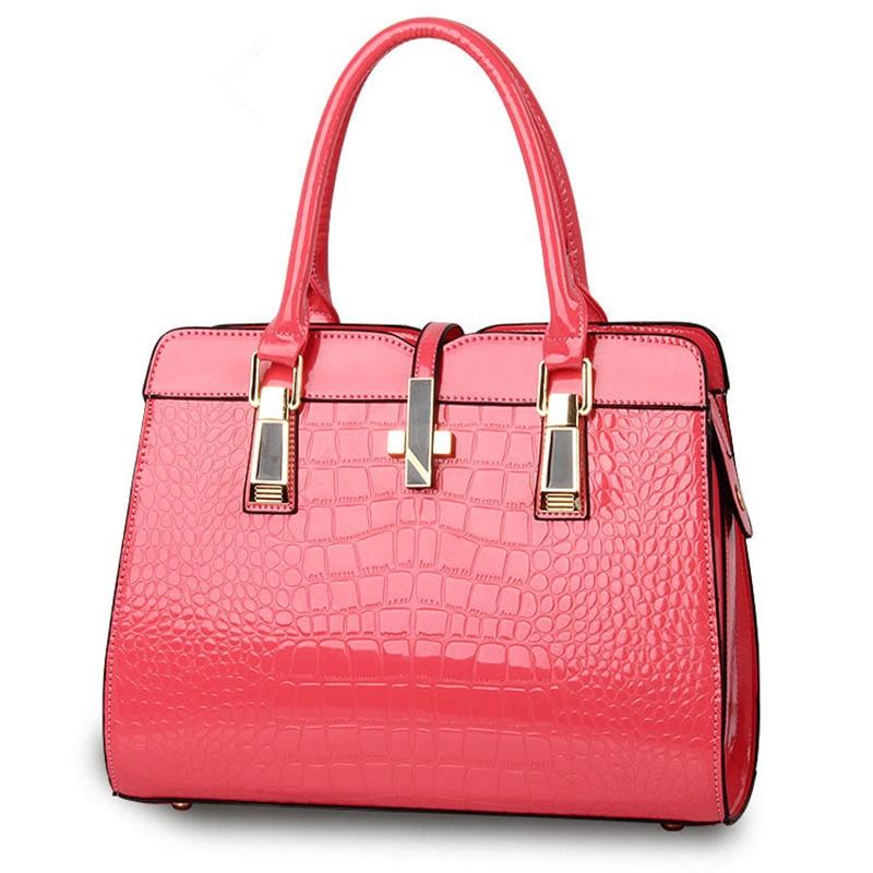 Fashion Pink Color Crocodile Pattern PU Women Handbag Casual Office Lady Shoulder Bag Crosss Decoration