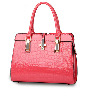 Fashion Pink Color Crocodile Pattern PU Women Handbag Casual Office Lady Shoulder Bag Crosss Decoration