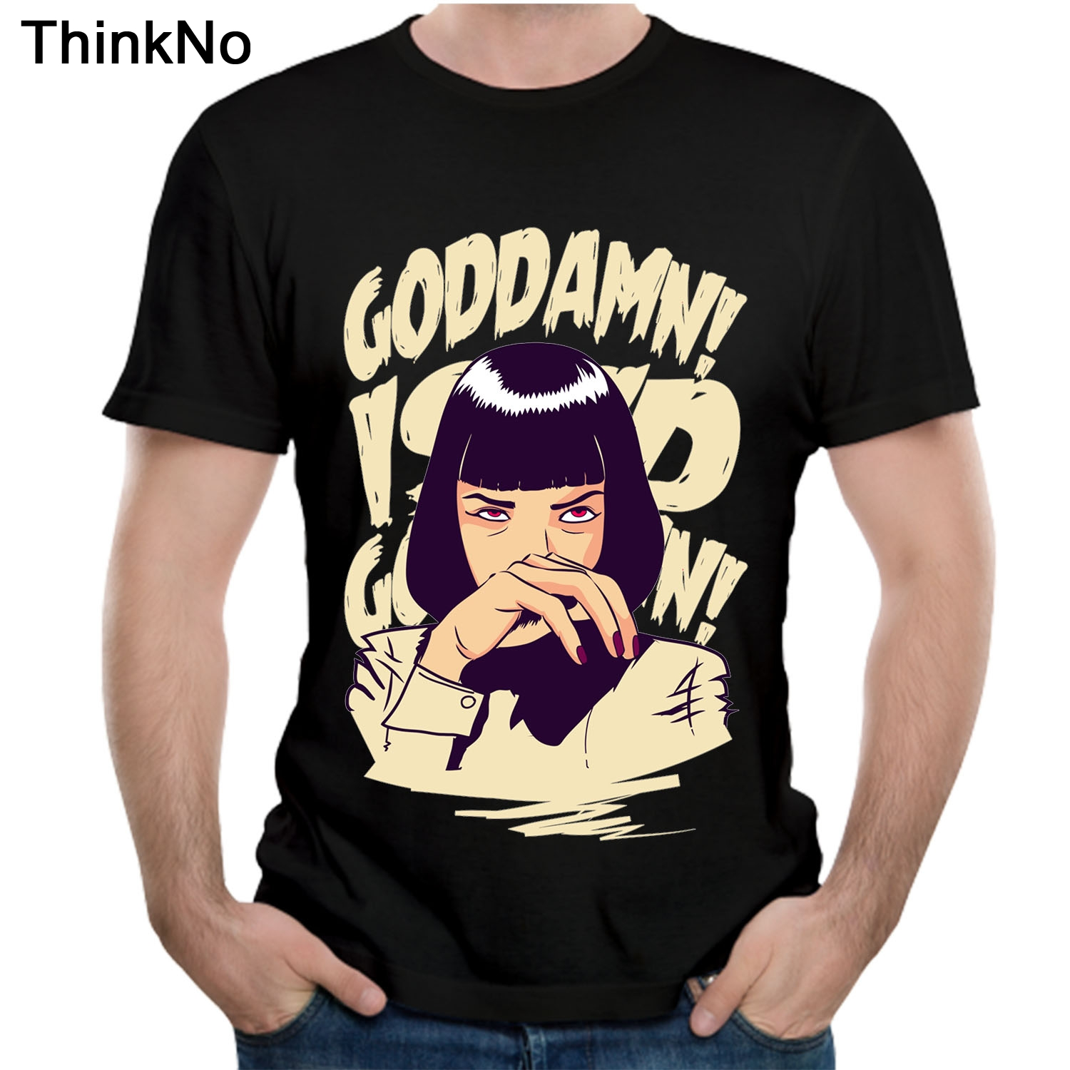 Movie Mia Wallace Pulp Fiction T shirt Plus size Tees Popular Casual 100% Cotton t shirt Summer Brathable HOMME