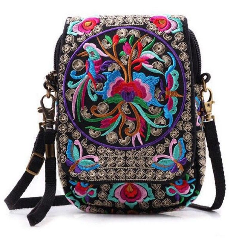 Crossbody-Bag Messenger Embroidered Florals Chinese-Style Women Lady's New