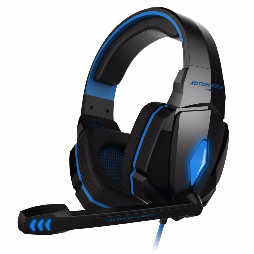 KOTION EACH G4000 Stereo Gaming Headphone Headset Headband with Mic Volume Control for PC Game kotion each g9000 7 1 surround sound gaming headphone game stereo headset with mic led light headband for ps4 pc tablet phone
